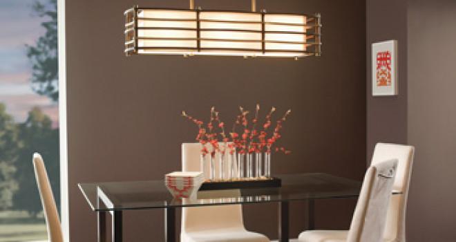 Mise en lumière et éclairage décoratif d'une salle à manger